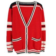 Shuchan Loose Cardigan Women Streetwear 2019 Designer Clothing V-Neck Red Black Autumn Winter Fashion Long Sleeve