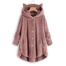 2019 Women Teddy Fleece Sweater Oversized 5XL Korean Cat Hooded Cardigan Winter Autumn Warm Fluffy Coat Sherpa Sweaters 2019 women teddy fleece sweater oversized 5xl korean cat hooded cardigan winter autumn warm fluffy coat sherpa sweaters