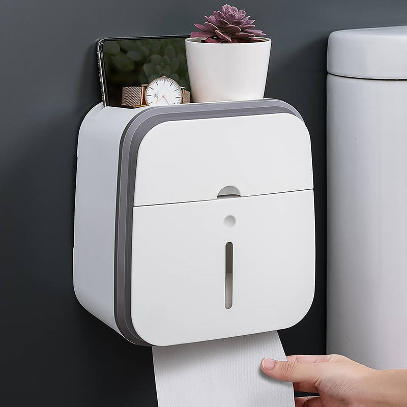 Double Layer Toilet Paper Holder Waterproof No  Punching Wall Mounted Strong Load Bearing Tissue Box Shelves Bathroom Product