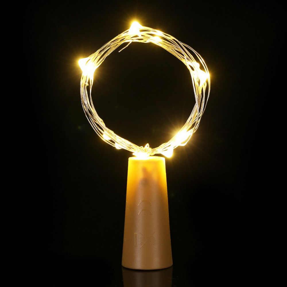 15 Leds en forma de corcho LED de alambre de cobre String Starry String luces IP44 partido bombilla Lámparas para decoración interior y exterior con interruptor de encendido/apagado