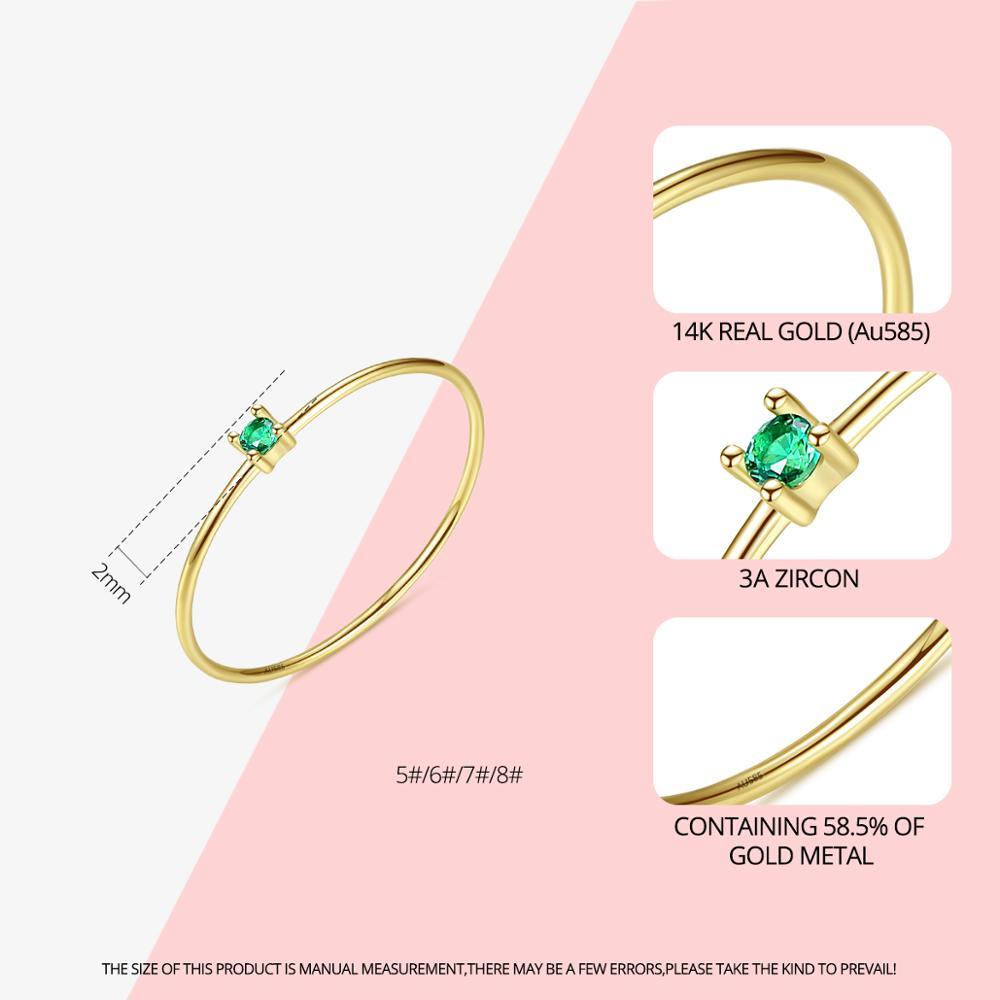 CZCITY nouveau luxe or Pur bijoux 14k or anneaux pour femmes fiançailles mariage or jaune 585 Anillos De Ouro Pur cadeaux R14145 - 2