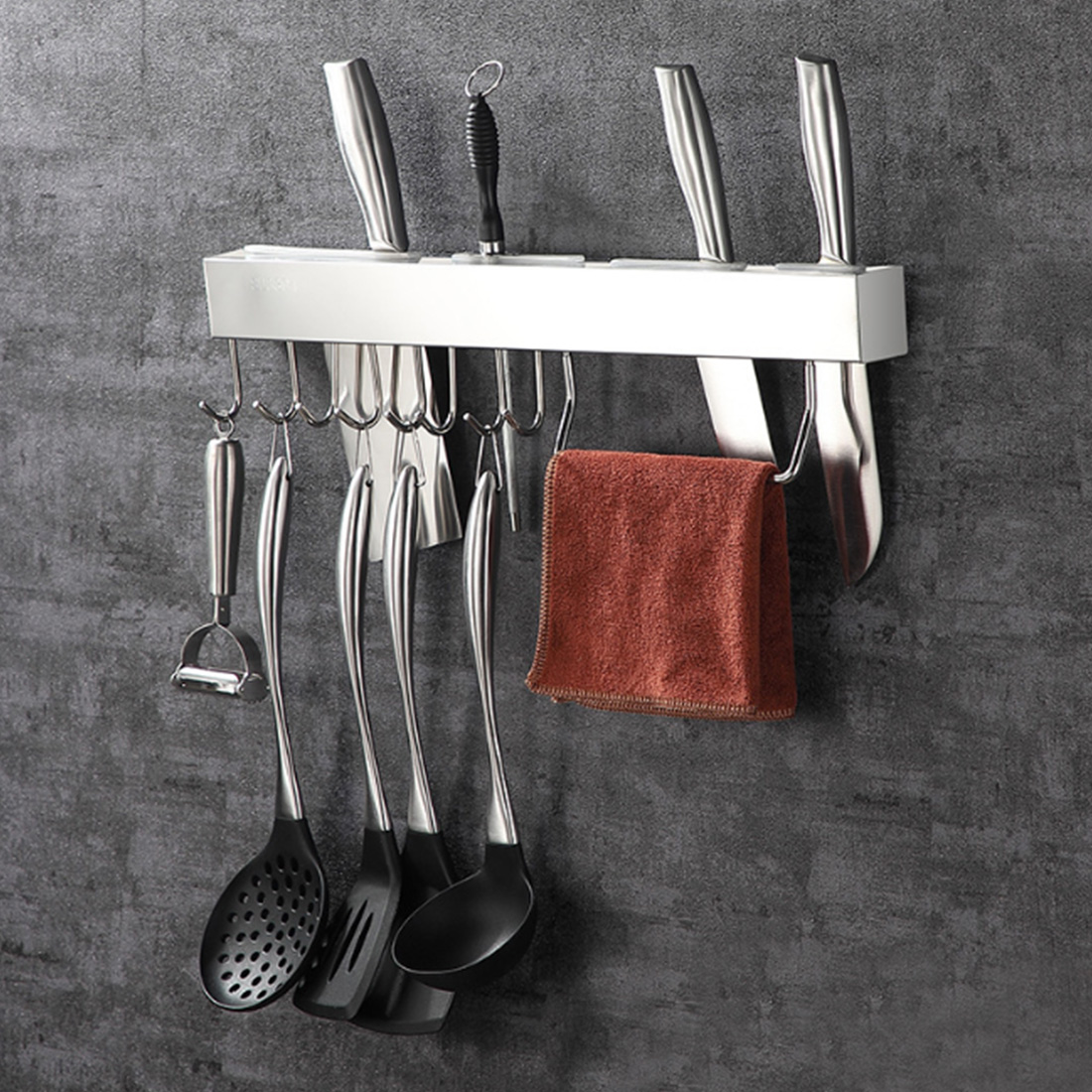 Storage Wall Mounted Kitchen Racks Stainless Steel Punching Free Cutter Slot Accessories Slice Hook Pot Holder Durable