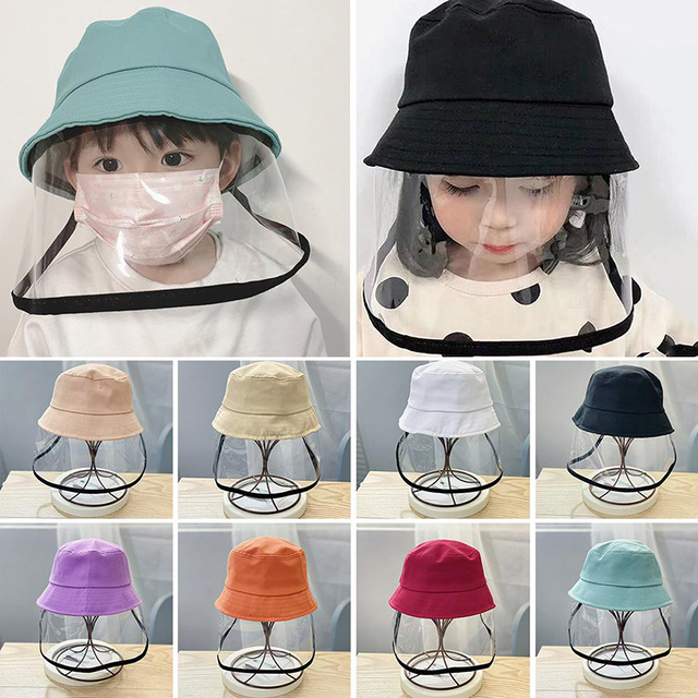 Kid Transparent Full Face Mask With Removable Cap Saliva Mouth Masks Windproof Fisherman Hat Brim 1