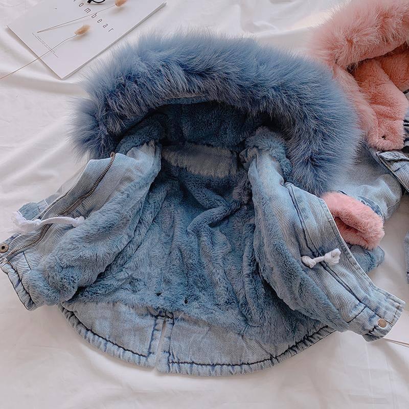Baby Girls Dress Cotton Coat Thicken Jacket 2021 Winter Warm Fur Hooded Kids Top Wear Long Sleeve Jackets 1 2 3 4 5 Years 3