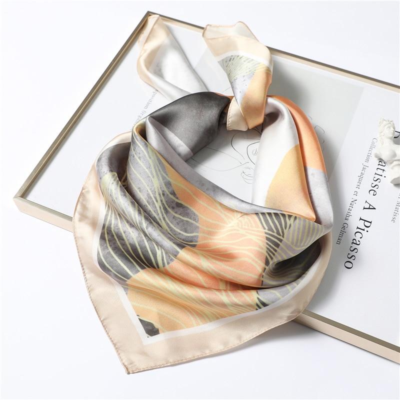 New Neckerchief 70x70xm Silk Scarf Square Women Fashion Print Shawl High Quality Small Winter Scarves Lady Hair Scarf Foulard