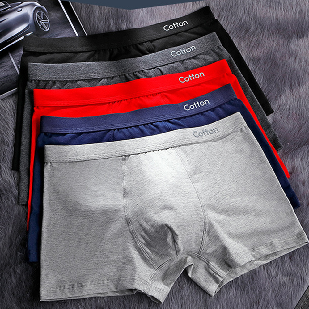 Men's Cotton Underwear 3D Stereoscopic High Elastic Breathable Printed Panties Solid Color Men Middle Waist Boxers Black Red