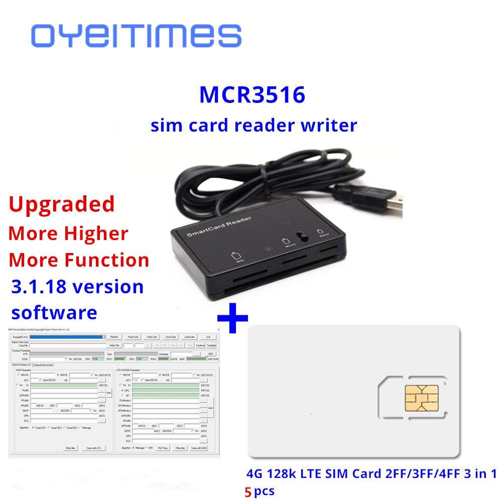 OYEITIMES SIM Card Reader Writer+5PCS 2FF/3FF/4FF Programmable SIM Card Blank LTE WCDMA GSM USIM 4G Card +SIM Personalize Tools