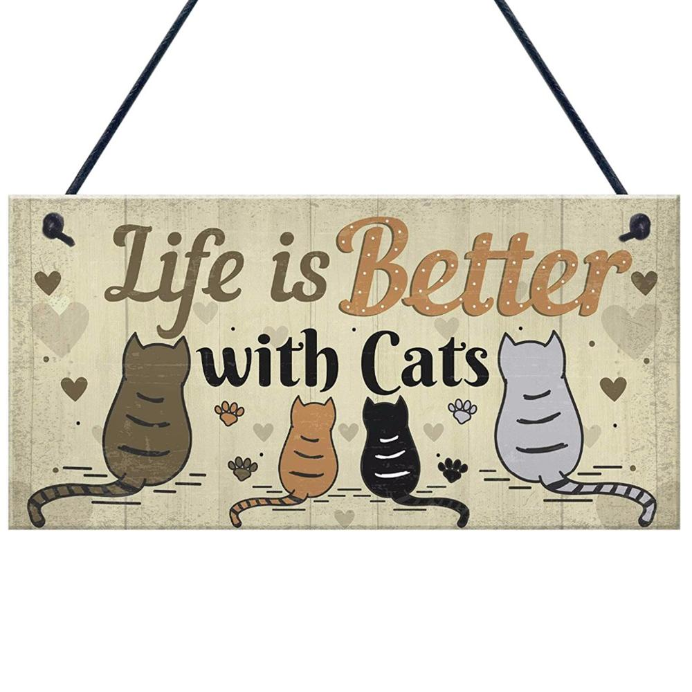 Home plaque Wooden Lovely Friendship Animal Sign Plaques Rustic Wall Decor Home Decoration Wall decor bar decoration FDH  My Pet World Store