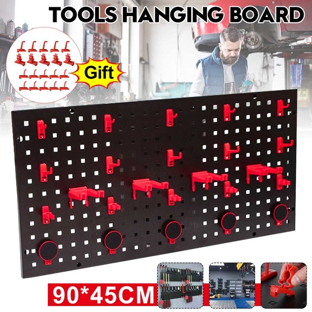 90x45cm Wall-Mounted Steel Tool Hanging Board Organizer Pegboard Panels Parts Storage with 20 Hooks