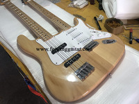 Factory customized double headed electric guitar bass, electric guitar, basswood body, maple neck and double neck electric guita