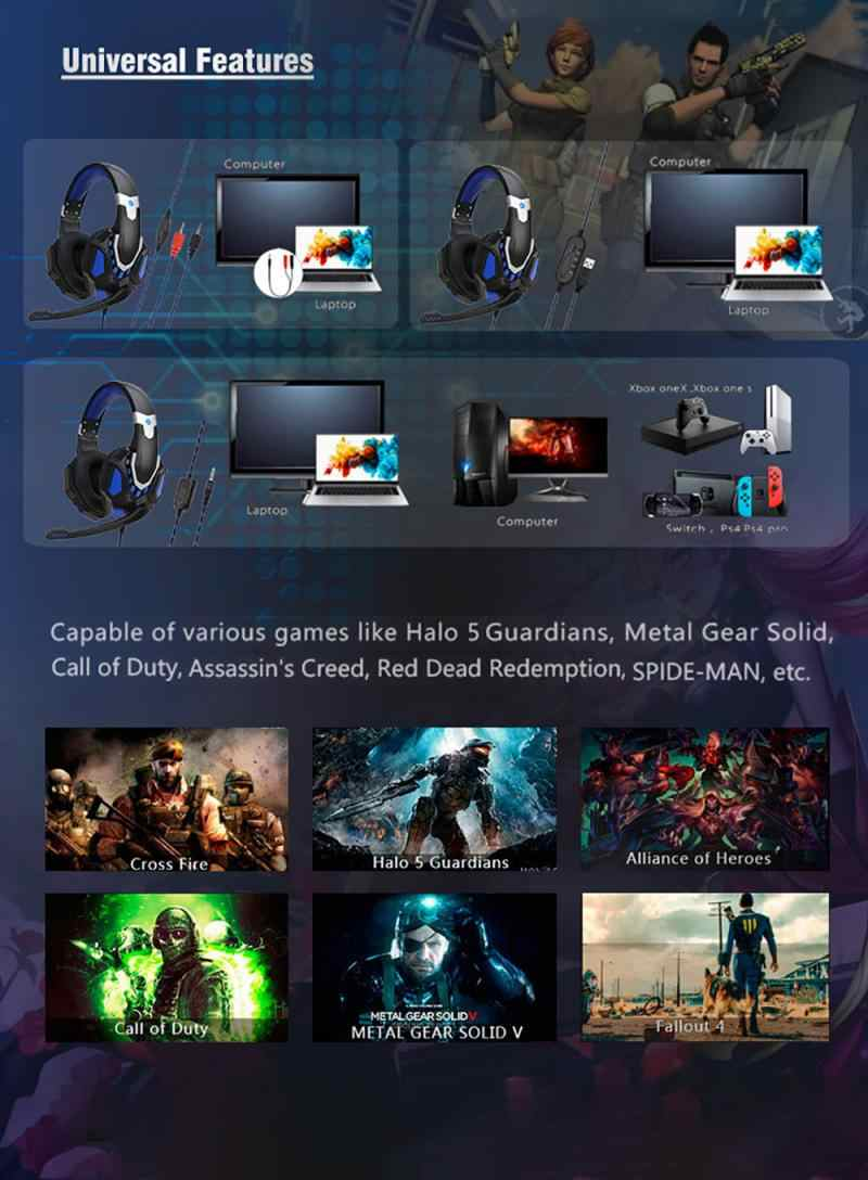 אופנה 3.5mm משחקי אוזניות עם מיקרופון משחקי מחשב מחשב אוזניות קול אוזניות עבור מתג PS3 PS4 Xbox