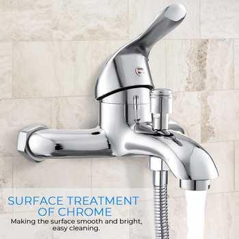 Xueqin Chrome polerowany kran ścienny zawór mieszający z kranu wanny baterie prysznicowe łazienka pojedynczy uchwyt zimna i ciepła woda tanie i dobre opinie CN (pochodzenie) NONE Brand New We współczesnym stylu Krany z czujnikami wrażliwe na temperaturę ciepła i zimna woda