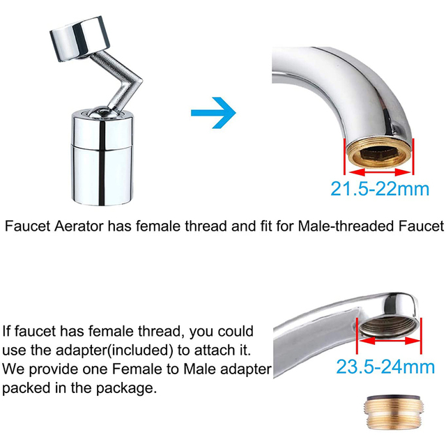 SHAI Universal Splash Faucet Spray Head 720 Degree Rotating Tap Filter Water Bubbler Faucet Aerator Kitchen Faucet Nozzle 5