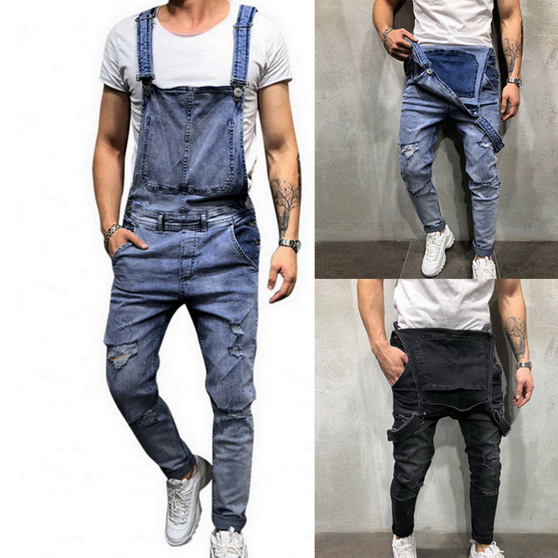 Men Autumn Winter Ripped Jeans Bib Overalls For Male Jumpsuits Street Distressed Denim Suspender Pants