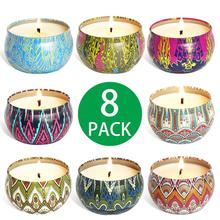 8pcs Nordic Tea Candle Decorative DIY Soy Wax Natural Landscaping Raw Material Scented Candles With Tin Can Tea Candle Holder high qualit 1000g pack 100% pure soy wax for candle making diy candle material flake candle wax smokeless waxed diy candles