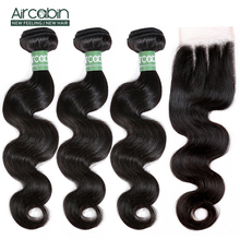 Aircabin Body Wave Bundles With Closure Remy Hair 4Pcs/Lot Peruvian Human Hair Weave Bundles And 4x4 Lace Closure Hair Extension цена