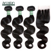 Aircabin Body Wave Bundles With Closure Remy Hair 4Pcs/Lot Peruvian Human Hair Weave Bundles And 4x4 Lace Closure Hair Extension(China)