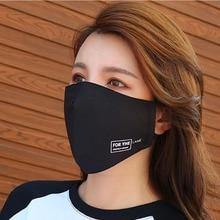 2 шт. черная хлопковая ткань маска для рта анти-дым, пыль моющаяся многоразовая рот-Муфельная пыль и маска от солнца для взрослых Открытый Велоспорт