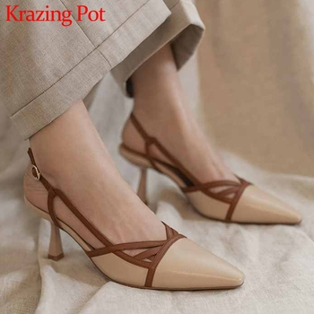 Krazing Pot French romantic genuine leather mixed colors pointed toe stiletto high heels women buckle straps slingback pumps L39