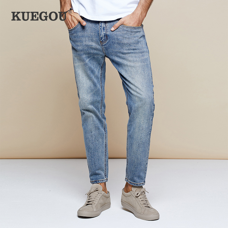 KUEGOU 2019 Autumn Cotton Blue Skinny Jeans Men Streetwear Brand Slim Fit Denim Pants For Male Hip Hop Stretch New Trousers 2973