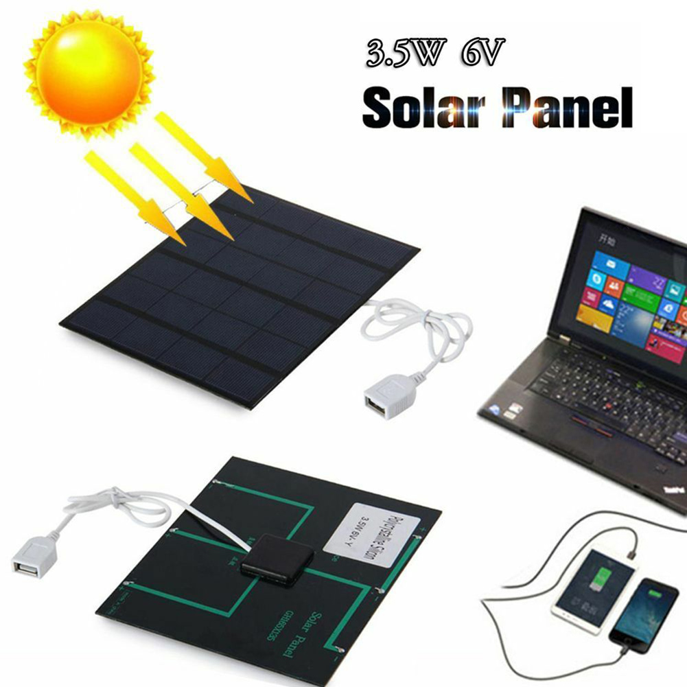Solar Panel System Charger 3.5W 6V Charging for Mobile Phone Power Bank Camping QP2