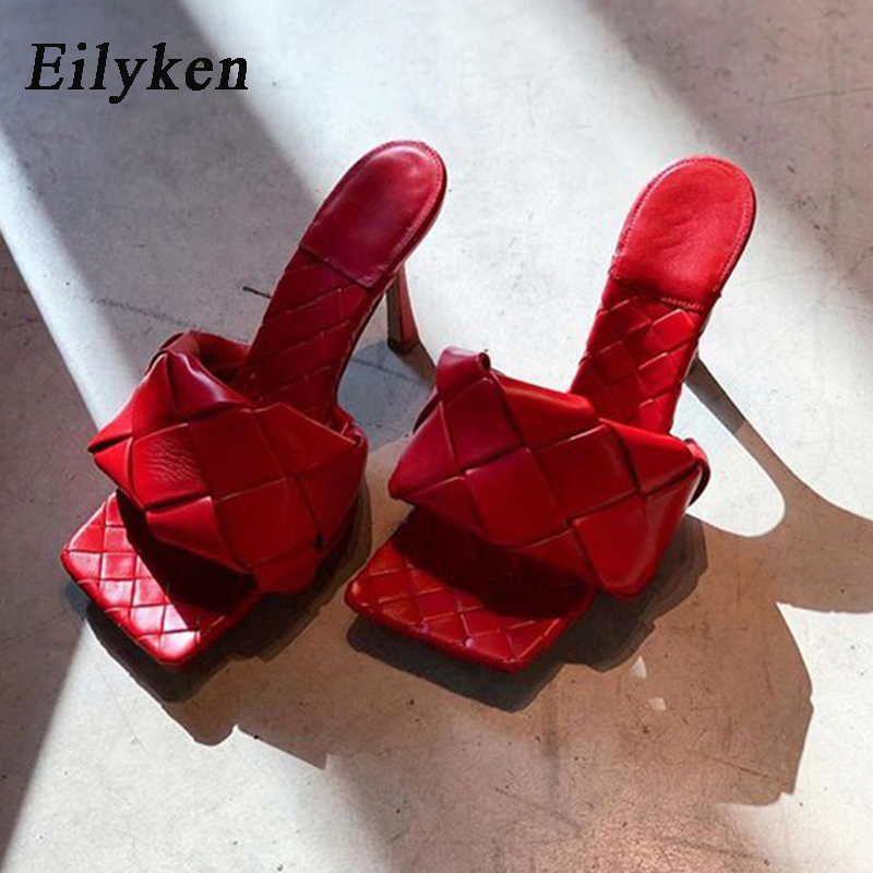 Eilyken Summer New Design Snake Print Square Toe Heels High Quality PU Leather Slippers Gladiator Sandals Womens Slides Shoes