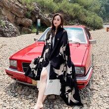 Grua japonesa kimata kimono haori feminina vermelho-crowped, guindaste tradicional kimonos, praia, shawl, boho xale, ff2575, novo, 2020