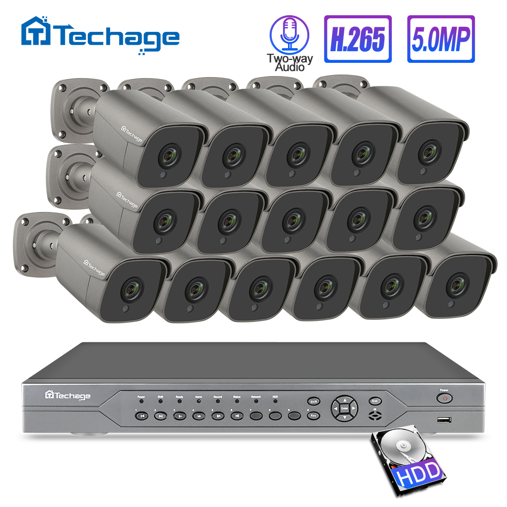 H.265 16CH 5MP 4K HD POE NVR Kit CCTV System IR Outdoor Two Way Audio AI IP Camera P2P Video Security Surveillance Set 2TB HDD