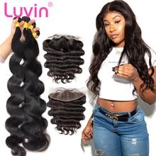 Luvin 28 30 32 34 40 дюймов бразильские волнистые волосы 3 4 пряди с 13x4 фронтальная и закрывающая часть шнурка Remy объемная волна человеческие волосы