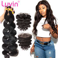 Luvin 28 30 32 34 40 Inch Brazilian Hair Weave 3 4 Bundles With 13x4 Lace Frontal and Closure Remy Body Wave 100% Human Hair