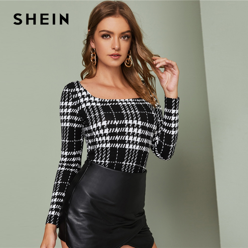 SHEIN Black And White Square Neck Fitted Plaid Top Women Elegant Tees Autumn Long Sleeve Office Ladies Slim Fit Skinny T-shirts