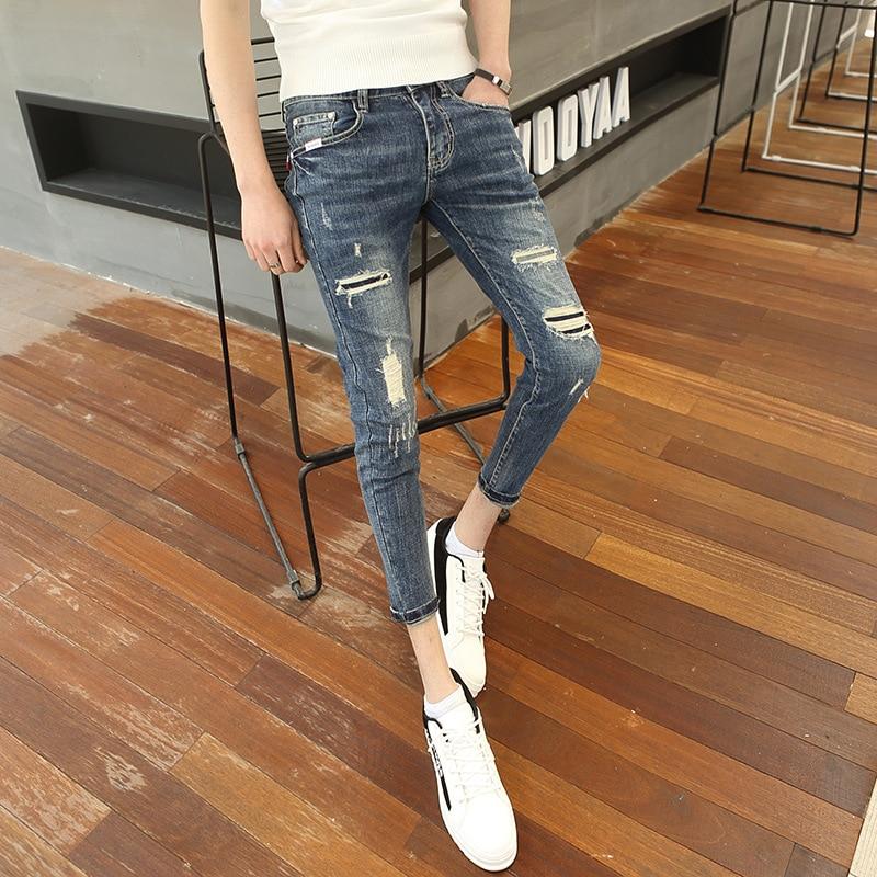 Wholesale 2020 Fashion  Casual Social Guy Cowboy Beggar Pants Men's Slim Korean Tight Skinny Jeans Men Feet Hole Ankle Pants