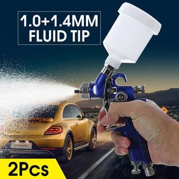 цена на New 0.8mm/1.0mm Nozzle H-2000 Professional HVLP Spray Gun Mini Sprayer Paint Spray Guns Airbrush for Painting Car Aerograph