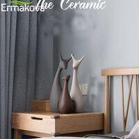 ERMAKOVA 3 Pcs Deer Family Figurines Modern Fashion Ceramic Statues Home Decoration Ornament Figures Animal Ornament