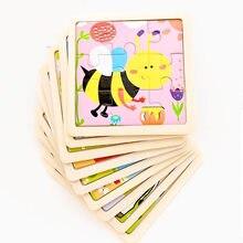 Vokmascotte 9 pièces Mini taille enfants jouets en bois 3D Puzzle pour enfants bébé dessin animé Animal trafic Tangram Puzzles éducatifs