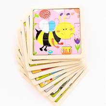 Vokmascot 9pcs Mini Size Kids Toys Wooden 3D Jigsaw Puzzle for Children Baby Cartoon