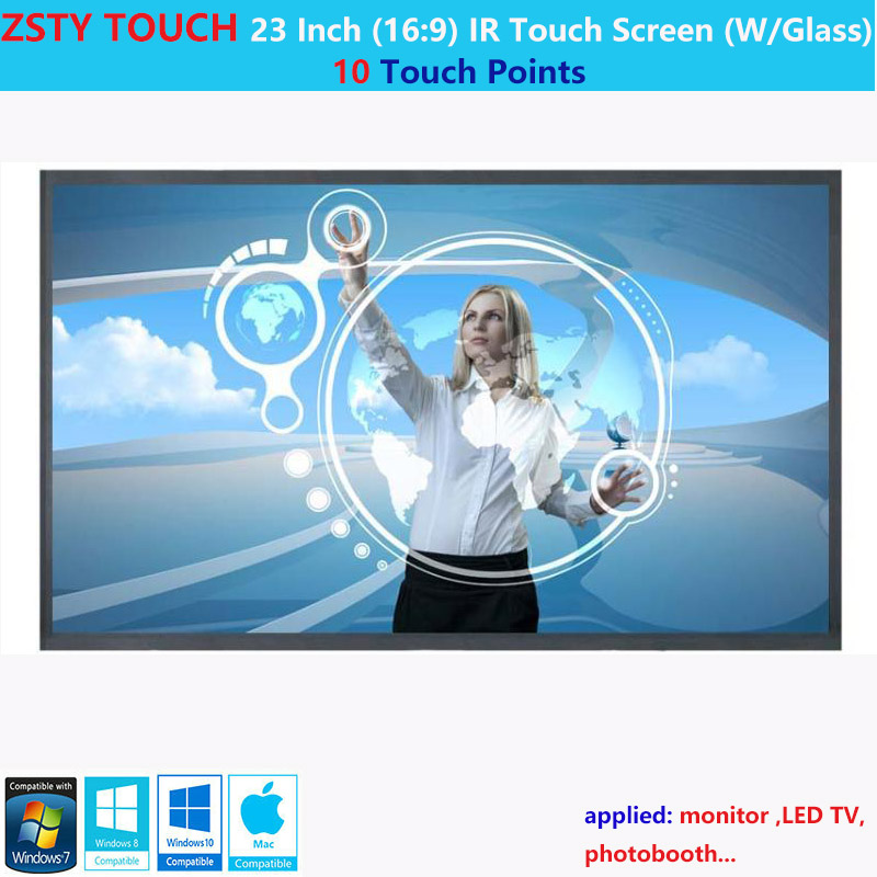 ZSTY Touch 23 Inch 10 Touch Point 16:9 Ratio IR Touch Screen ,infrared Touch Panel/Touch Overlay Kit With Glass