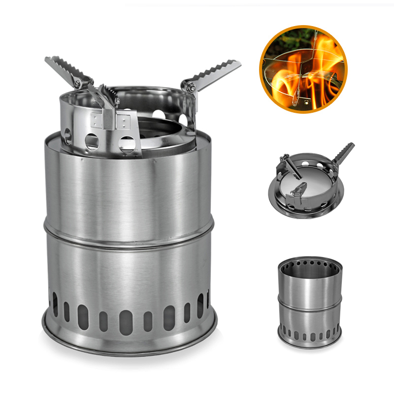 Large Size Wood Stove Split Portable Gas Stainless Steel Gas Firewood Burners Camping Backpacking Furnace