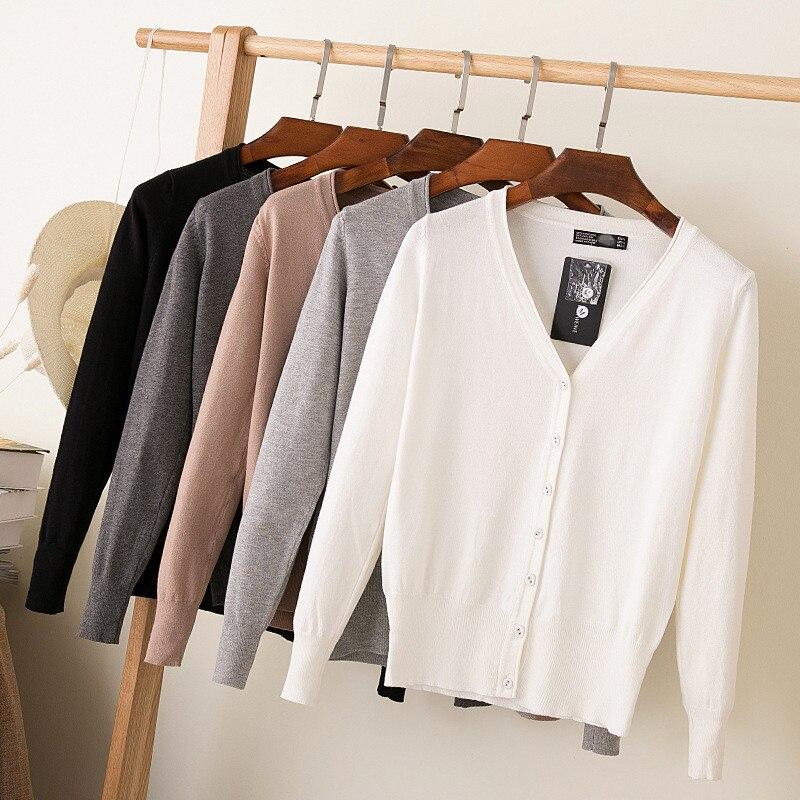 Женский вязаный кардиган, повседневный Однотонный свитер с V-образным вырезом и длинным рукавом, вязаный свитер, пальто для женщин, Осень-зи...
