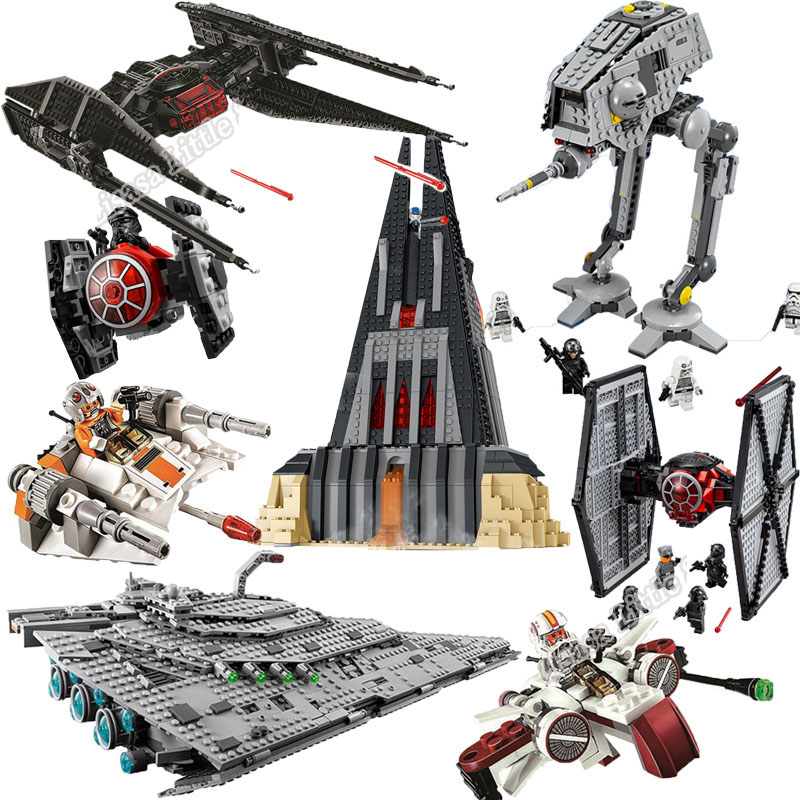 New Star Wars Tie Fighter AT-TE Walker Darth Vader Castle Figure Building Blocks Brick Legoinglys Toys For Children 75240 75261