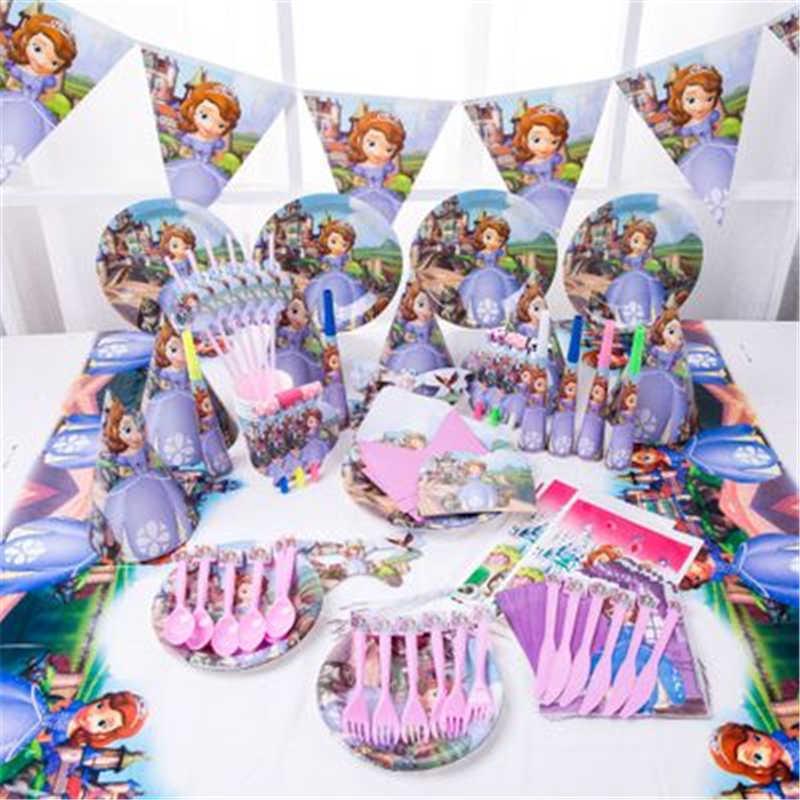 6 เด็กเจ้าหญิงโซเฟียทิ้งผ้าเช็ดปาก Happy Birthday PARTY อุปกรณ์ตกแต่งเทศกาลงานปาร์ตี้ Favor เพศเปิดเผยสาว