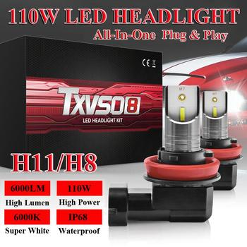 2Pcs/Set H11/H8 TXVSO8 Car LED Headlight High or Low Beam Bulbs 110W 6000LM 6000K White Signal Light Car Accessories LED Lamp image