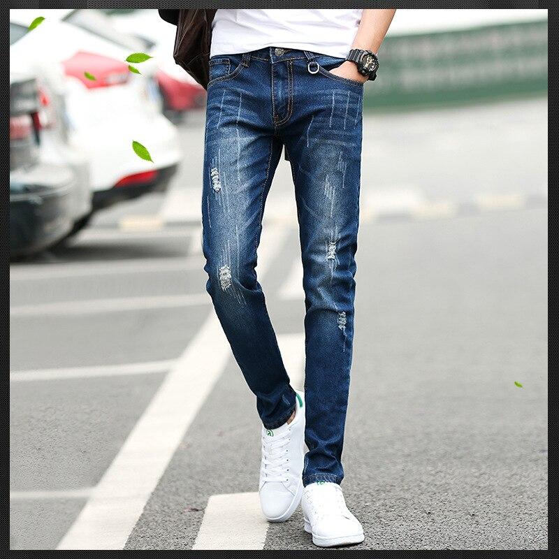New Style Jeans Men's Slim Fit Elasticity With Holes Cat Whisker Versatile Trend Men Skinny Pants Korean-style Fashion Men'S Wea