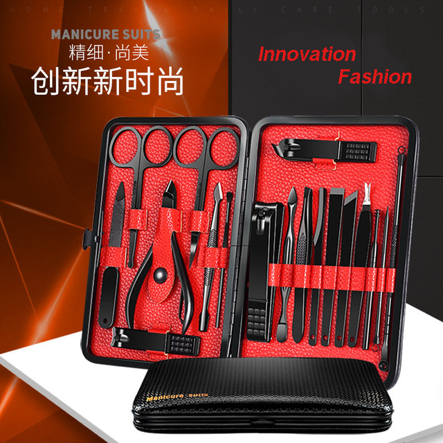 Hottest Stainless Steel Nail Clippers Manicure Tool Pedicure Sets 18 Piece Trimmer Nipper Scraper Scissors With Newest Color 2