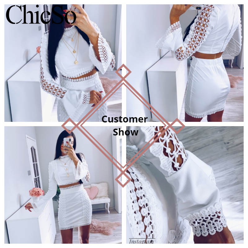Image 5 - MissyChilli Lace white bodycon dress Women elegant two piece flare sleeve s dress summer short sexy party beach dress festaDresses   -