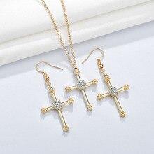 цена на FXM Fashion Women's Necklace Earrings Jewelry Set Cutout Round and Cross Necklace Earrings Jewelry Set