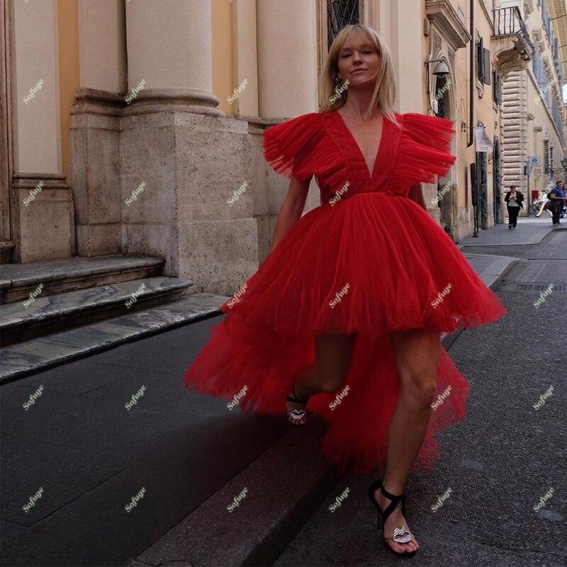 Red High Low Abendkleider Prom Puffy V Neck Dubai Saudi Arabisch Besondere Anlässe Formal Mädchen Kleid Nach Maß