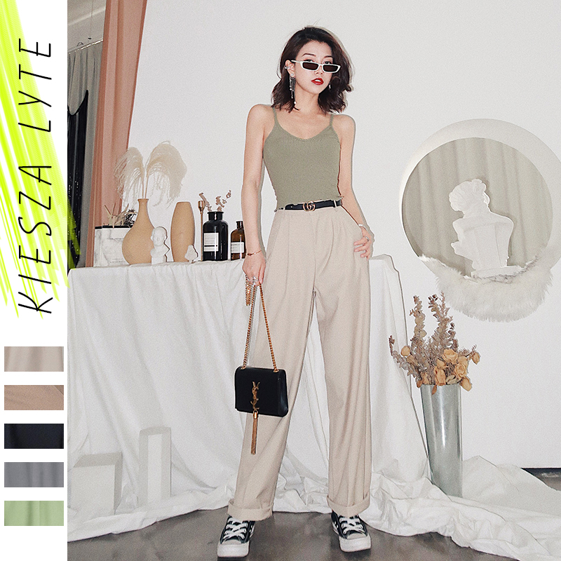 Women Casual Pants 2020 Spring Summer Simple Solid Loose Straight Long Tube Trousers Femme
