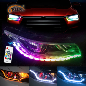 OKEEN Waterproof RGB LED Light For Car LED DRL LED Daytime Running Lights Colorful LED Strip Flowing Yellow Turn Signal Lights