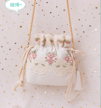 Angelatracy 2020 New Arrival Floral Mori Women Vintage Embroidery Lace Chain Storage Bag Summer Crossbody String Bag Bucket